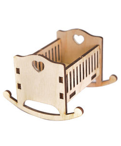 Houten 3D Poppenhuis Miniaturen Ledikant 6x7,6x8,3cm