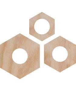 Houten Hexagon Theelichthouder 3st