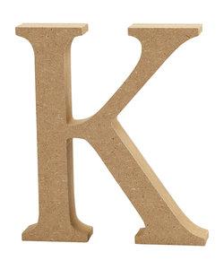 MDF letter/teken, 13 cm. letter K