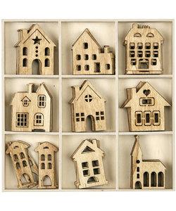 Houten ornament, ca 5cm./2mm. huis of kerk, per stuk