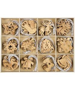 Houten ornament, ca 5cm./2mm. Kerstfiguur per stuk