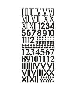 Stickervel Cijfers voor Uurwerken zwart