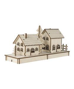 Houten Bouwset 3D Huisjes 2stuks
