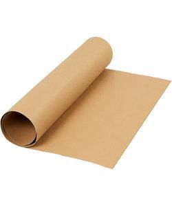 Faux Leather Papier, unikleurig Lichtbruin,   B: 50 cm, 350 gr, 1 m.
