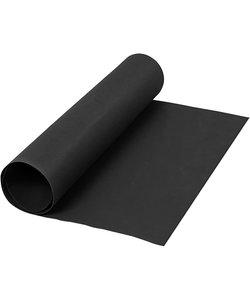 Faux Leather Papier, unikleurig Zwart, B: 50 cm, 350 gr, 1 m.