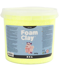Foam Clay, Glitter, 560 gr, 1 emmer, Geel