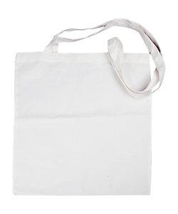 Stoffen tas, katoen, lang hengsel 38x42 cm., Wit