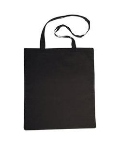 Stoffen tas, katoen, lang hengsel 42x38 cm., Zwart
