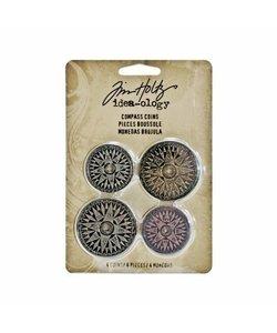 Tim Holtz Idea-Ology Metal Compass Coins 4st