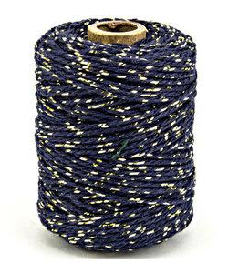 Katoen Koord Lurex, 2mm 50m Blauw/Goud