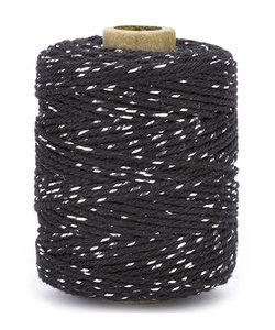 Katoen Koord Lurex, 2mm 50m Zwart/Zilver