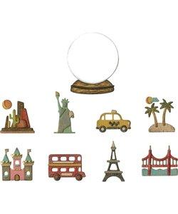 Sizzix Thinlits Die Set Tim Holtz Tiny Travel Globe 10 Dies
