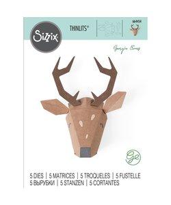 Sizzix Thinlits Die Set Georgie Evans Origami Reindeer 5 Dies