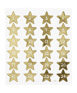 Stickers  Cijfers 1 t/m 24  op gouden ster 1 vel 15-16.5cm