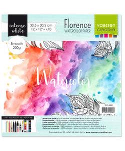 Florence Aquarel Papier Smooth 30,5x30,5cm 200g, White 10 pcs.