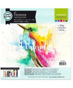 Florence Aquarel Papier Smooth 30,5x30,5cm 300g, White 50 pcs.