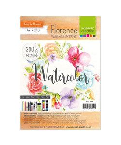 Florence Aquarel Papier Texture A4 300g Off White 10st