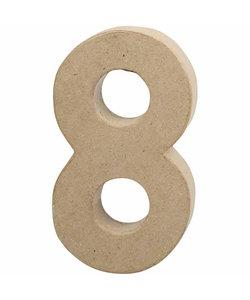 Papier Mache Cijfer 8 2,5x11,8x20,5cm