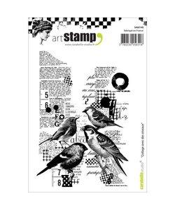 Carabelle art stamp collage tekst met vogels