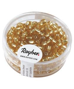 Borduurkralen , 4 mm ø, met zilverkern, goud, Doos 17g