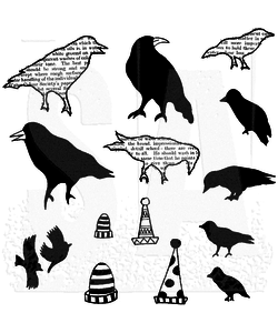 Dylusions Rbb stamp Birds on a wire