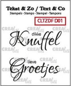 Crealies Stempel Tekst & Zo Dikke Knuffel / Lieve Groetjes