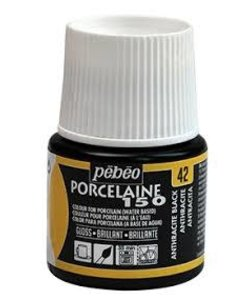 Pebeo Porcelaine 150 Porseleinverf 45ml Anthracite Black nr. 42
