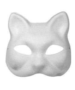 Papier mache Masker Kat 18x17 cm met elastiek