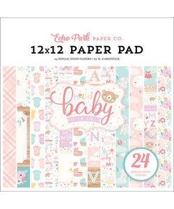 Echo Park Paper Pad 12x12'' Hello Baby Girl