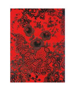 Vel Decopatch papier Bloemenprint kant rood/zwart