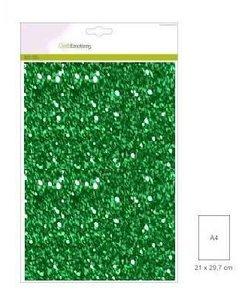 Craftemotions glitterpapier 5 vel A4 120gr groen