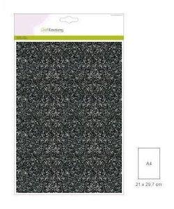 Craftemotions glitterpapier 5 vel A4 120gr zwart