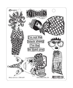 Dylusions stamp Black sheep