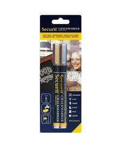 Securit Chalk Marker Set Goud & Zilver