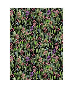 Vel Decopatch papier Plantenprint zwart/oud roze/groen/grijs