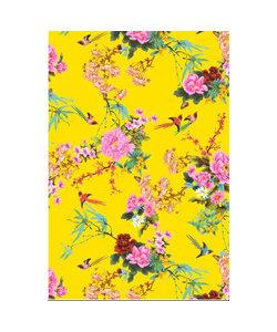 Vel Decopatch papier Bloemenprint met Vogels geel/roze/blauw/rood
