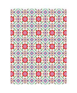 Vel Decopatch papier Bloemenprint/ Borduurpatroon wit/groen/oranje/roze