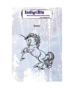 "Indigo Blu rbr stamp eenhoorn, ""Jewel"""