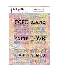 Indigo Blu rbbr stamp Word blocks