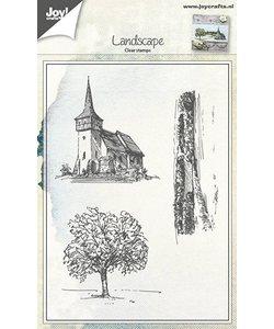 Joy Clear Stamps kerk boom landschap