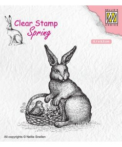 Nellie's Choice Clear Stamp Easter hare with baske