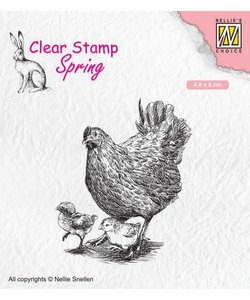 Nellie's Choice Clear Stamp Mother hen with chicks