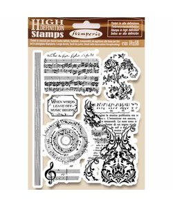 Stamperia rubber stamp Music Beginning