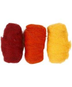 Gekaarde Wol Geel/Oranje/Rood Harmonie 3x10g