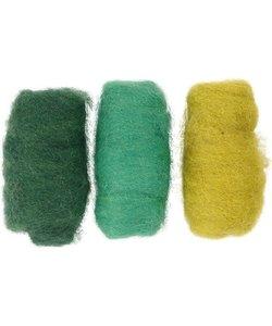 Gekaarde Wol Groen/Turquoise Harmonie