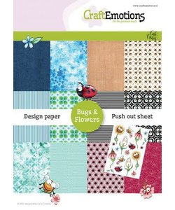 Craftemotions Design Paper Bugs & Flowers A5 12 vel (6 designs) 1 uitdrukvel