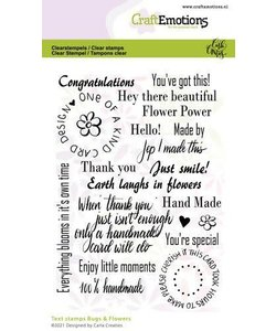 Craftemotions Clear stamp Bugs & Flowers Tekst Eng.