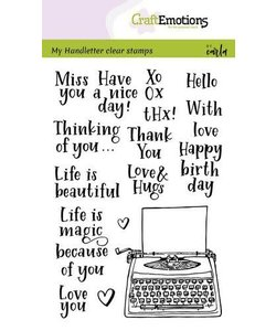 Craftemotions Clear Stamp by Carla Handletter Typewriter quotes Eng.