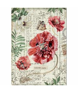 Stamperia rice paper A4 Poppies