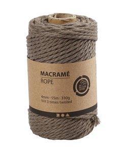 Macramé Koord Licht Bruin 4mm 55m 330g